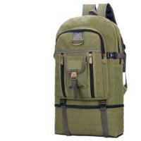 ?大容量复古帆布双肩包男行李包户外登山包女旅游包休闲运动背包?
