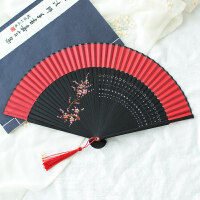 舞蹈折叠扇扇子折扇古典日式樱花折扇古风真丝凌娟工艺扇舞蹈扇汉服扇子