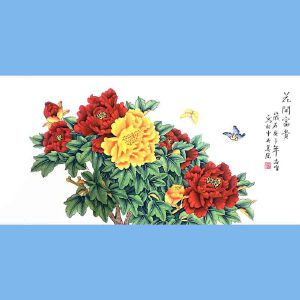 北京著名工笔画家,北京市美协会员,北京九久书画收藏文化交流中心画家凌雪(花开富贵)8
