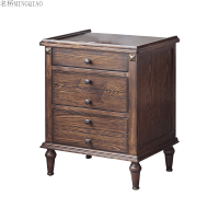 家具美式实木三抽屉床头柜 乡村卧室床边柜储物柜迷你小柜子 组装