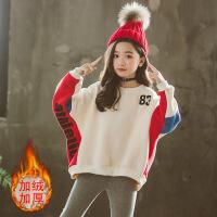 女童冬装套装2018新款韩版洋气时髦中大童装儿童加绒卫衣两件套潮