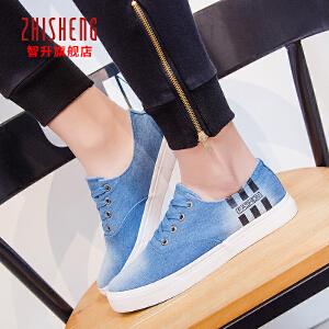 智升2018春季新款男士帆布鞋韩版系带男鞋水洗牛仔布低帮平底板鞋