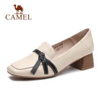 骆驼女鞋2019春夏新品时尚优雅蝴蝶结方头粗跟舒适中跟单鞋女