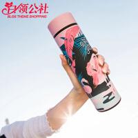 保温杯 女学生真空不锈钢情侣杯2020韩版可爱男女创意火烈鸟带茶隔便携大容量车载水杯子