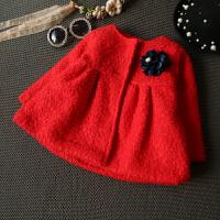 1-6岁童装女童装韩版外套呢子大衣2女宝宝3加厚4保暖5红色上衣