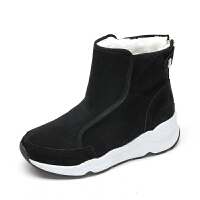 棉鞋女冬雪地靴2018新款短筒保暖学生加绒韩版厚底内增高网红短靴