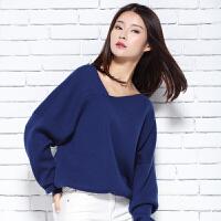 2018新款女士V领纯羊绒衫休闲短款长袖针织套头毛衣打底衫