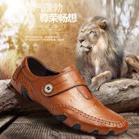 豆豆鞋时尚真皮男鞋男士休闲鞋加棉皮鞋男英伦商务鞋