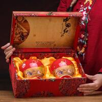 木质茶叶盒木质茶叶包装空礼盒散装普洱金骏眉大红袍白茶通用密封陶瓷罐 中国红・双罐