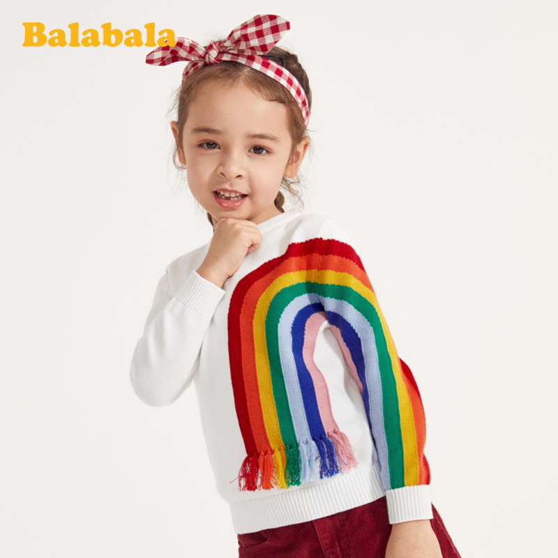 【7折价:62.93】巴拉巴拉童装女童毛衣春季儿童针织套头衫小童宝宝纯棉洋气上衣女