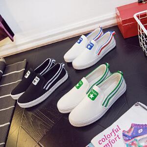 【清仓特价】智升2018春季新款小白鞋女平底一脚蹬懒人鞋休闲帆布鞋女板鞋平跟单鞋