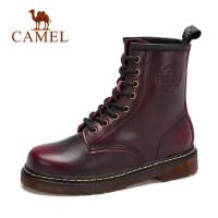 秋冬新款 骆驼女靴子8孔高帮短筒靴女款马丁靴潮流舒适牛皮靴