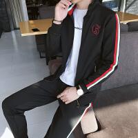 秋冬夹克套装男两件套开衫长袖立领韩版潮流学生帅气卫衣休闲运动套装985