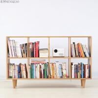 实木多格书架置物架简约现代展示架北欧日式橡木学生书房落地书柜