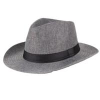 遮阳帽中老年帽子男士夏天亚麻老人帽太阳帽男士凉帽大檐防晒礼帽