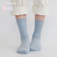 袜子女纯棉秋冬款中筒袜加厚加绒韩版女袜子学院风日系全棉袜中腰 牛仔蓝 均码