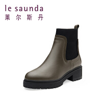 莱尔斯丹 秋冬专柜款切尔西短靴短筒套筒加绒保暖女靴 8T49004V