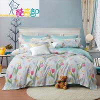 【年货直降】富安娜家纺 长绒棉四件套60s贡缎床上用品双人套件 梦幻庄园/魅丽城堡 红色 1.8米床(6英尺)