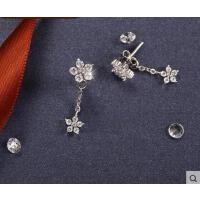 韩版气质百搭长款耳坠花朵银饰品银冰凌花耳钉女