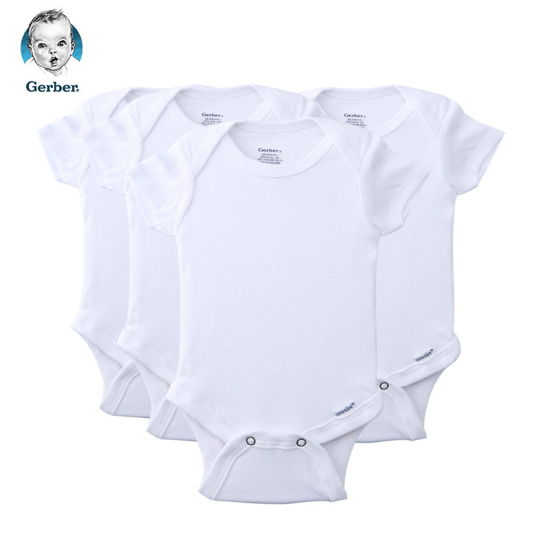 美国直邮  Gerber嘉宝婴儿连体包屁衣4件套 白色 包邮包税