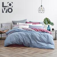LOVO家纺 全棉素色四件套 现代简约北欧风床单被套
