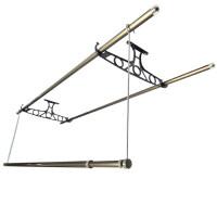阳台晾衣架固定顶装 固定式双杆晾衣架 加粗实心铝合金固定晾衣架底座 顶装支架L 固定衣架一副+2根加厚铝合金杆2.4米