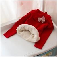 秋装女童加绒毛衣套头女宝宝加厚针织打底衫婴儿童线衣1-3-2岁4 大红色加绒袖子没有加绒