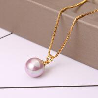 珍珠吊坠925纯银锁骨项链天然贝珠单颗珠日韩国毛衣链简约项坠女
