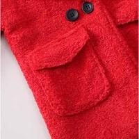 女童毛呢外套秋装加厚中小童呢子外套女宝宝韩版加厚呢子大衣潮 红色 不加绒双排扣呢子