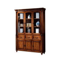 实木书柜带玻璃门美式自由整面墙双门三门书橱书架书房储物柜 1.4米以上宽