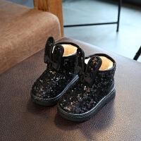 雪地靴女童靴子季女童短靴防水亮片加绒宝宝棉鞋子 319黑色 25