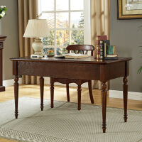 美式实木书桌书房家具套装欧式简约电脑台式桌家用实木大书桌 1.4*0.65米书桌+