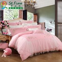 富安娜家纺 圣之花刺绣结婚六件套蕾丝贡缎结婚床品粉色 水晶恋人