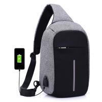 嘉迪奴胸包男士背包休闲帆布可充电USB接口防盗胸包斜挎包潮流