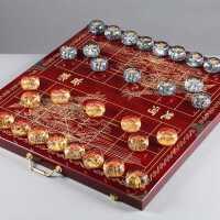 水晶象棋大号透明浮雕中国象棋套装*收藏折叠棋盘创意人物包邮