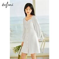 伊芙丽连衣裙2021夏装新款泡泡袖法式高级精致长袖气质收腰a字裙