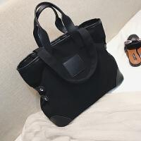 新款韩国简约学生帆布包大容量手提包2018新款女包潮单肩大包包购物袋