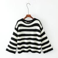 女装秋冬欧美个性宽松黑白撞色条纹毛衣大袖子短针织衫