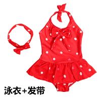 新款 儿童泳衣连体女孩女童公主波点泳装游泳衣