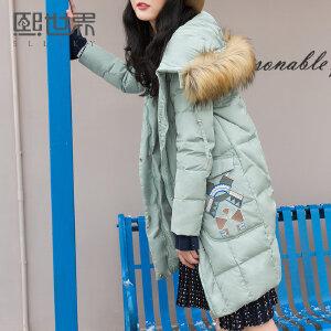 熙世界复古中长款刺绣羽绒服女2018冬装新款长袖鸭绒外套108LY033