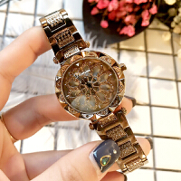 2018新款时尚防水女表镶钻时来运转礼物手表钢带石英表