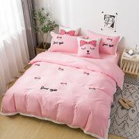 网红ins风小清新纯棉四件套猫咪毛巾绣全棉床上用品1.8单双人被套