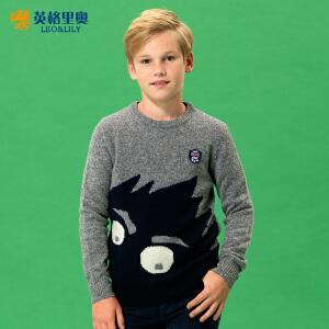 童装男童毛衣2018秋冬新款儿童中大童套头圆领卡通针织衫百搭线衣