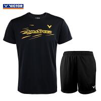 VICTOR威克多 羽毛球服男女健身跑步篮球运动服休闲T恤球衣短袖短裤 运动套装