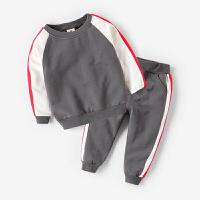 男童春秋卫衣运动服套装2018新款春装儿童纯棉两件套小童宝宝童装 灰色 预售3.23号