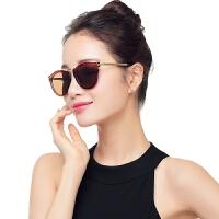 女士偏光太阳镜女时尚新款复古墨镜女个性时尚圆脸潮花琉璃眼镜