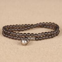 冰种黑曜石圆珠绕2圈手链 直径4mm 重8.74g