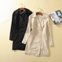 贝贝秋冬款长袖双排扣西装领中长款风衣女韩版修身显瘦长外套