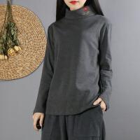 中式复古文艺纯棉加厚高领打底衫民族风女装刺绣纯色卫衣料针织衫 均码