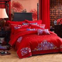 LOVO家纺 重绣提花床单被套婚庆中国红十件套 喜绣盈闺